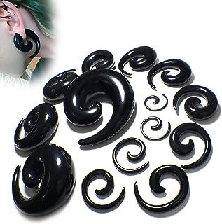 WOERD Spirale écarteur d'oreille en Acrylique, Oreille Ecarteur Piercing Expanseurs Noir Spirale Escargot Tunnel Plug Kit ...