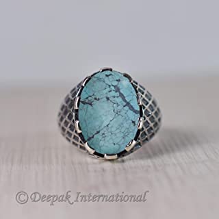 Natural Tibetan Turquoise Ring, Man's Heavy Ring, Biker Ring, Solid 925 Sterling Silver Jewelry. Oxidized Arabic Ring, Designer Western Ring, Statement Ring, Handmade Ring, Gift For Father Jewelry