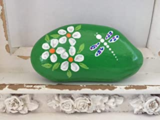 Daisies with Dragonfly Painted Rock
