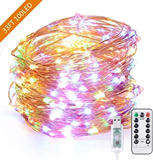 USB String Lights, 33ft 100 LED Fairy Lights, Waterproof Copper Wire Lights for Christmas, Bedroom, Holiday, Garden, Party, Wedding, Indoor Outdoor Decorative, Remote Control with 8 Modes, Multi Color