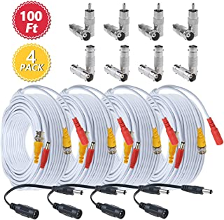 BNC Cables 100ft 4 Pack HD Security Camera Cables Heavy Duty BNC Video Power Extension Cable with BNC to BNC, BNC to RCA Connectors, DC Power Cables for CCTV DVR Security Camera System-Flashmen
