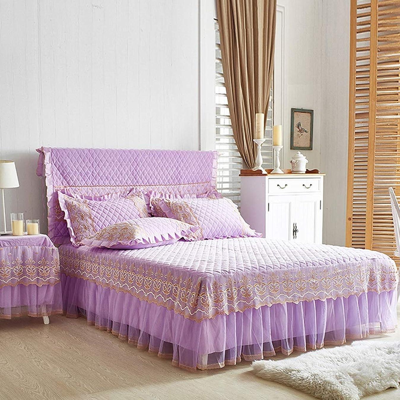 問題危険にさらされている情報高級コットンスエードベッドスカートスーツ機洗える寝具プリーツベッドカバー弾性バンド固定滑り止め保護ケース - ほこり (色 : B purple, サイズ さいず : 200cmx220cm+pillowcases)