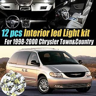 12Pc Super White 6000k Car Interior LED Light Bulb Kit Pack Compatible for 1998-2000 Chrysler Town&Country