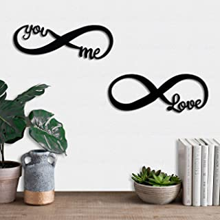 Art Street Love Couple MDF Wall Plaque, Wall Sign MDF Cutout for Home Decoration Ready to Hang (6 mm, Black)