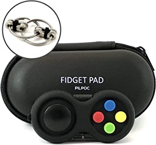 PILPOC Fidget Controller Pad Cube - Premium Quality Fidget Game Focus Toy, Smooth ABS Plastic with Exclusive Protective Case, Stress Relief Toy, for Add/ADHD (Black & Mix)