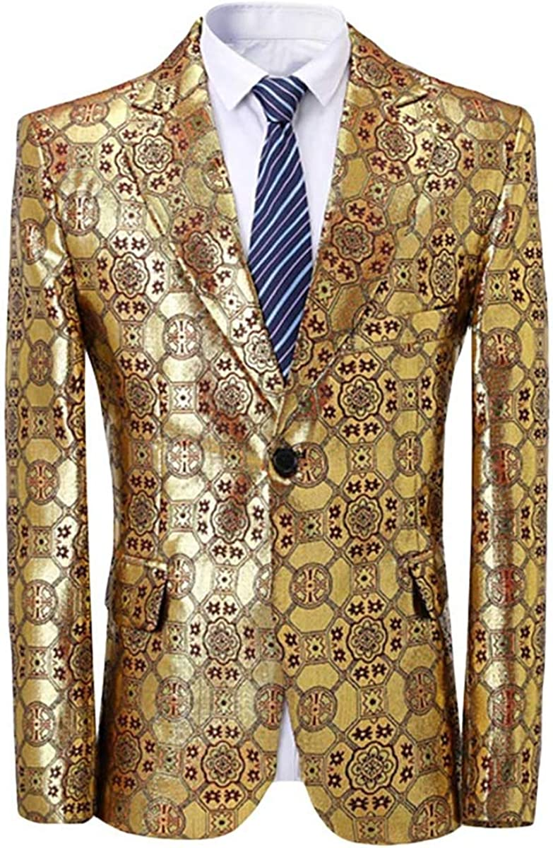 Mens Casual Floral Print Dress Suit Jacket 1 Button Slim Fit Blazer Sport Coat