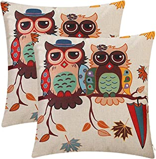 Jepeak Cotton Linen Throw Pillow Covers Cushion Cases, Pack of 2 Farmhouse Morden Decorative Square Soild Cartoon Pastoral Pillow Cases for Sofa/Couch/Loveseat, 18 x 18 Inches (Owl Couples)
