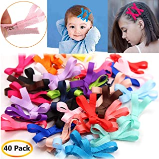 40Pcs Mixed Colors Grosgrain Ribbon Baby Girls Small 2