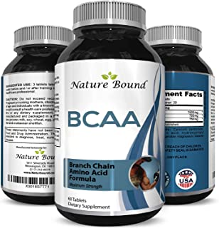 Nature Bound Best BCAA Supplement with Amazing Bodybuilding Pre Workout Results and Pure Branched Chain Amino Acids - L-Leucine Food Grade Formula for Men and Women