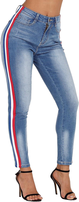 Sidefeel Women Casual color Block Denim Ankle Zipper Skinny Jeans