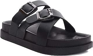 Strappy Sandals for Women Booties Women Ankle heelsith Two Buckle Slide Cross Strap Flat Platform Sandals