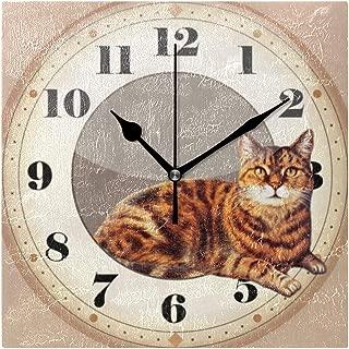 柱時計頭が切れるな猫のあること スクエア壁時計 掛け時計 時計 掛時計 壁掛け時計 置き時計 置き掛け兼用 連続秒針 おしゃれ インテリア