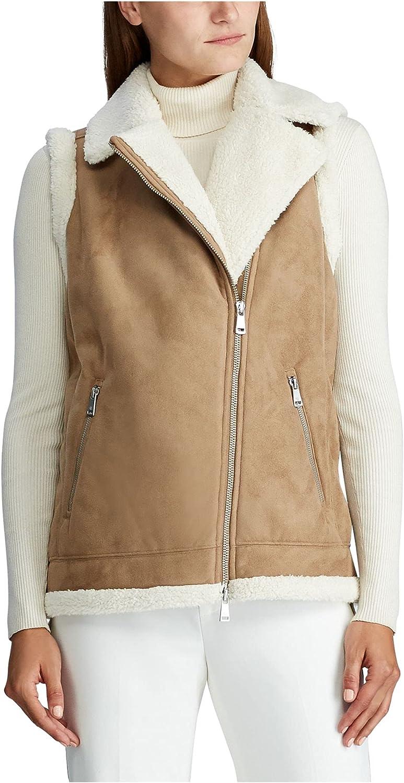 RALPH LAUREN Womens Brown Sleeveless Zip Neck Vest Top Size XL