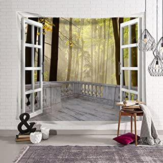 QCWN House Decor Tapestry Wall Hanging Nature Scenery Modern Landscape Fake Window Design 3D Print Wall Decor For for Bedroom Living Room Dorm (1, 78Wx59L)