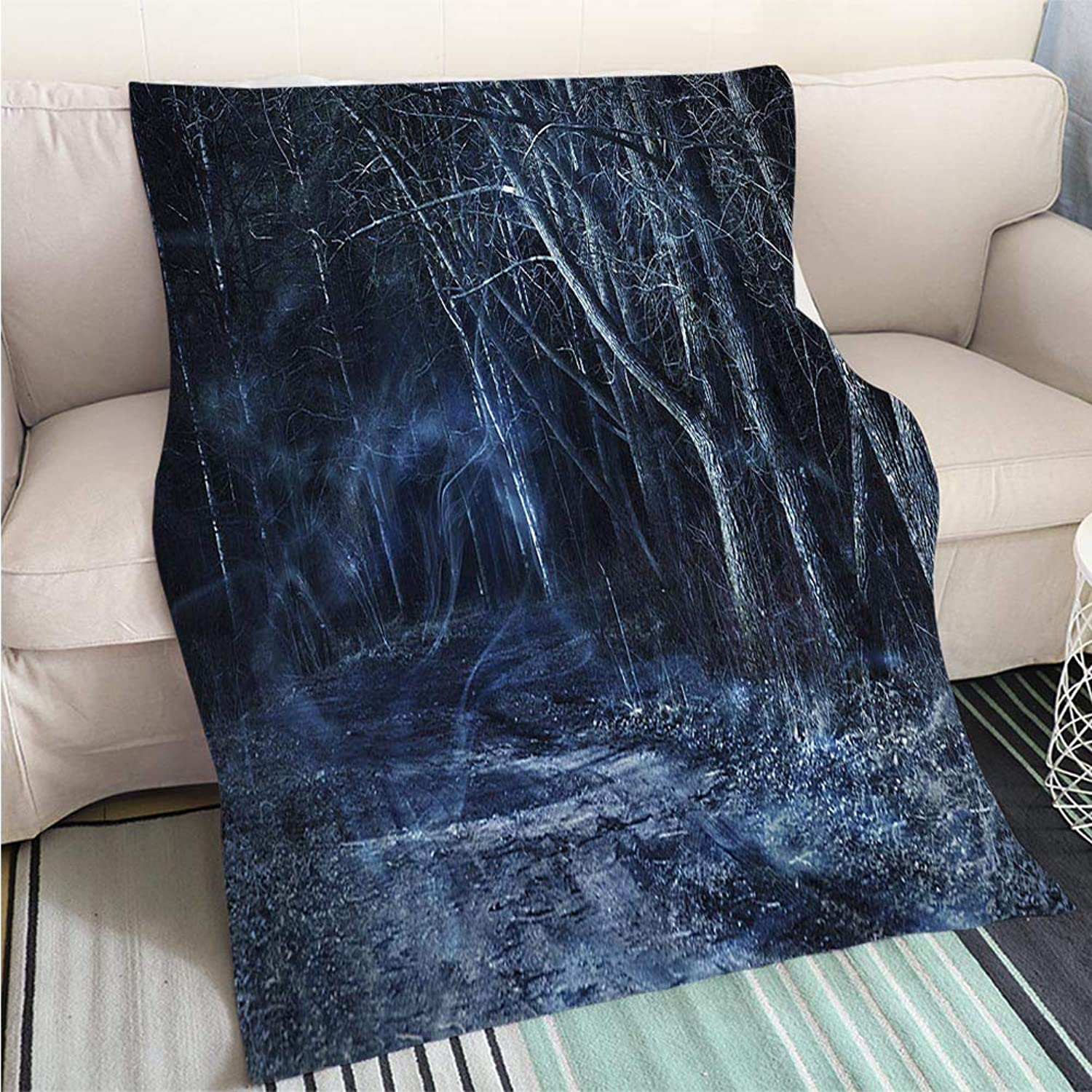 BEICICI Comforter Multicolor Bed or Couch Misty Forest by Moonlight Fashion Ultra Cozy Flannel Blanket
