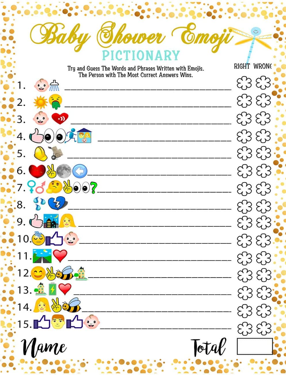 Baby Shower Games - Emoji Pictionary, Fun Guessing Game Girls Boys Babies Gender Neutral Ideas Shower Party, Prizes for Game Winners, Favorite adults Games for Baby Shower Favors Activities