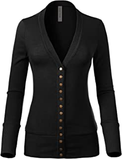 Design by Olivia Women's Soft Basic V-Neck Snap Button Down Knit Cardigan