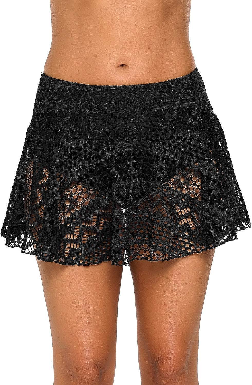 luvamia Women's Lace Crochet Skirted Bikini Bottom Mid Waist Swim Skirt Swimsuit