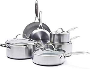 GreenPan Venice Pro Stainless Steel Healthy Ceramic Nonstick, Cookware Pots and Pans Set, 10-Piece, Light Gray