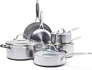 GreenPan CC000018-001 Stainless Steel Venice Pro Ceramic Non-Stick 10Pc Cookware Set, Light Grey