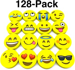 OHill Pack of 128 Pack Emoji Pencil Erasers 16 Emoticons Novelty Erasers for Party Favors..