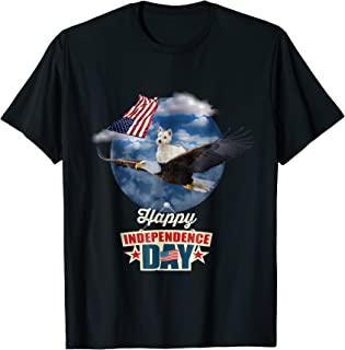 Westie Hold American Flag Ride Eagle 4th Of July T-shirt