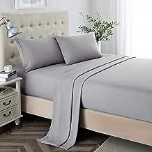 ملاءات كاملة الحجم، 2400 ورقة من الألياف الدقيقة بجيب عميق ناعم، 4 قطع من أغطية السرير وأغطية الوسائد بلون رمادي فاتح