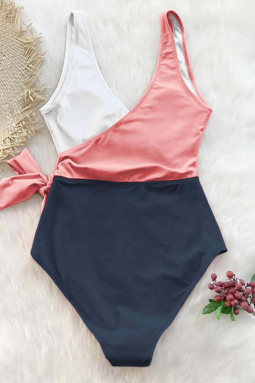 CUPSHE Women's One Piece Swimsuit Wrap Color Block Tie Side Bathing Suit