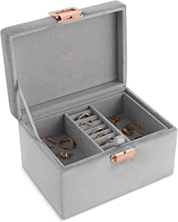 Beautify Velvet Jewelry Box Jewelry Organizer and Storage with Removable Dividers, 2 Layers for Rings, Necklace, Bracelets, Earrings and More - Grey with Rose Gold Clasp