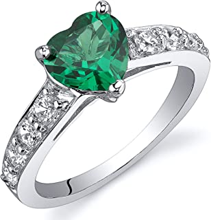 Simulated Emerald Ring Sterling Silver Rhodium Nickel Finish Heart Shape 1.00 Carats Sizes 5 to 9