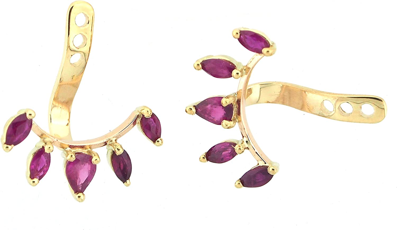 18K Yellow Gold Clip On Earring Jackets Handmade With Natural Rubies