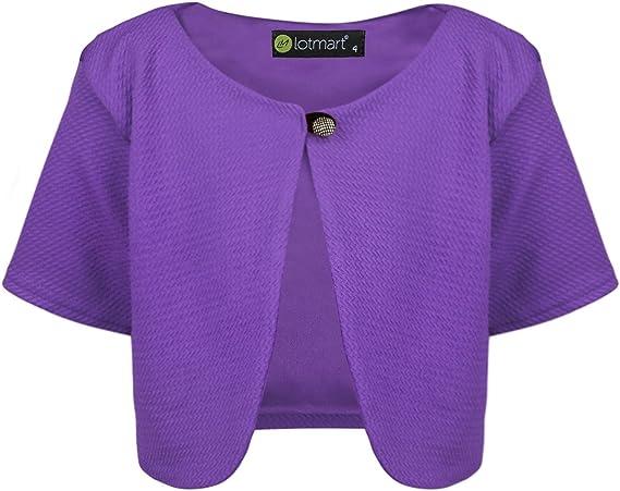 LOTMART Girls Cropped Bolero Kids Short Sleeve Textured Material Cardigan Top
