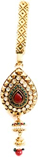 Soni's Gold Plated Pear Drop Shape Red and Green Stone Waist challa for Women and Girls