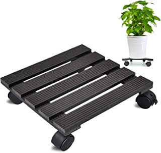 CERBIOR Plant Caddy Heavy Duty Plant Pot with Wheels Indoor/Outdoor Holds Up 12 Inches and 80 Lbs Strong and Sturdy Design (Square, Charcoal)