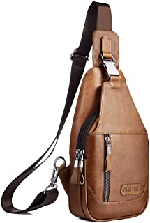 Leather Sling Bag for Men Women,Purse Chest Bag Messenger Shoulder Bag Small