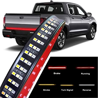 CLAUTOP 60Inch 504LED Triple Row LED Tailgate Light Bar, Waterproof Truck LED Light Strip Amber/Red/White Running Reverse Braking Turn Signal for Pickup SUV RV Trailer Dodge Toyota Ram Chevy
