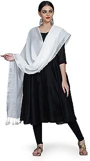 THE WEAVE TRAVELLER Women's Handloom Hand Woven Cotton Slub Dupatta with Pom Pom Edgings (Ivory White; Free Size)