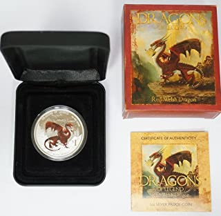 2012 AU 2012 Tuvalu Dragons of Legend Series - Red Welsh Dragon $1 Brilliant Uncirculated $1 Proof