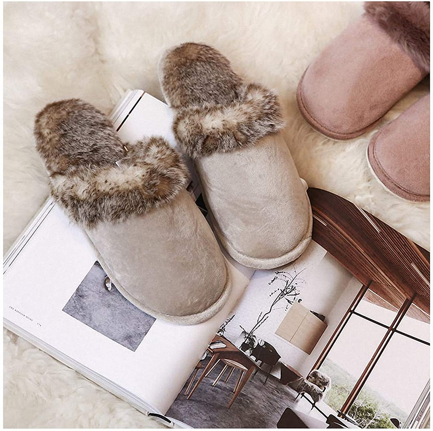 Womens Slippers Large Size Couples House Slippers for Men Women Winter Warm Faux Suede Fur Indoor Furry Home shoes Leopard Print Bedroom Slipper Beige 14
