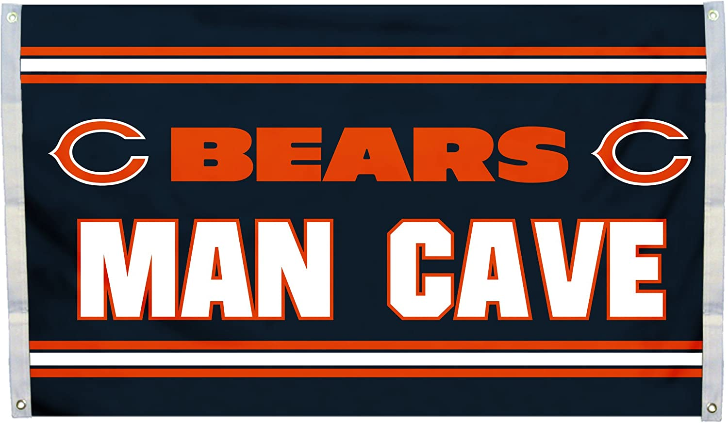 Fremont Die NFL Chicago Bears 3' x 5' Flag with Grommets, 3 x 5-Foot, Man Cave