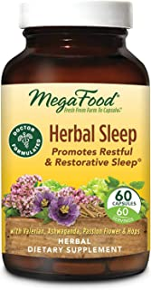 MegaFood, Herbal Sleep, Doctor Recommended and Made with Organic Ashwagandha, Hops and Passion Flower, Vegetarian, 60 Caps...