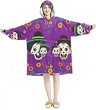 Deken Hoodie, Casual Zachte Microfiber Housecoat, Warm Nachthemd voor Mannen Vrouwen met Dag Van De Dode Paar Schedel Ontw...