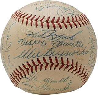 1953 Yankees Team Signed Baseball Mickey Mantle Phil Rizzuto Whitey Ford +22 w/Case PSA/DNA AH41185