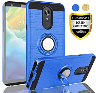 AYMECL LG Stylo 4 Case,LG Q Stylus Case,LG Stylo 4 Plus/LG Stylo 4+ Case with HD Screen Protector,360 Degree Rotating Ring Holder Dual Layer Full-Body Protective Cases Cover for LG Stylo 4-ZR Blue