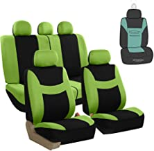 FH Group FB030115 Light & Breezy Flat Cloth Full Set Car Seat Covers Set, Airbag & Split Ready w. Gift, Green/Black- Fit Most Car, Truck, SUV, or Van