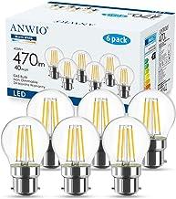 ANWIO B22 Filament LED-lamp G45 470Lm lamp 4,5 W vervangt 40 W, 2700 K warm wit, niet dimbare Globe LED gloeilamp, verpakk...