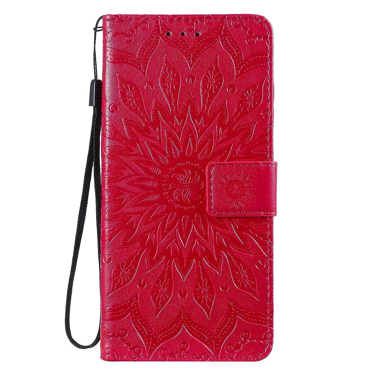 触手砲撃どう?OMATENTI Nokia 3.2 ケース, 良質 PUレザー 財布 フリップ ケース 耐衝撃性 衝撃吸収 液晶保護 ケース電話カバー 付きカードスロット, リストストラップ, 横置きスタンド機能付き, 赤