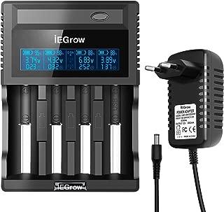 iEGrow Cargador de Pilas 4 Ranuras Cargador Batería de 18650, 26650, 18500, 18350, AA, AAA, AAAA, C Ni-MH, Ni-CD 3.7V Batería Recargable con VA LCD Pantalla y Adaptador