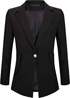 Womens Slim Fit Casual Work Office Blazers One Button Jacket