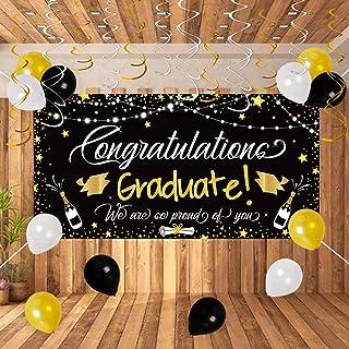 90shine 25PCS Graduation Party Supplies 2020 - Large Congrats Grad Banner Garland Photo Backdrop+Balloons+Hanging Swirls Decorations Favors